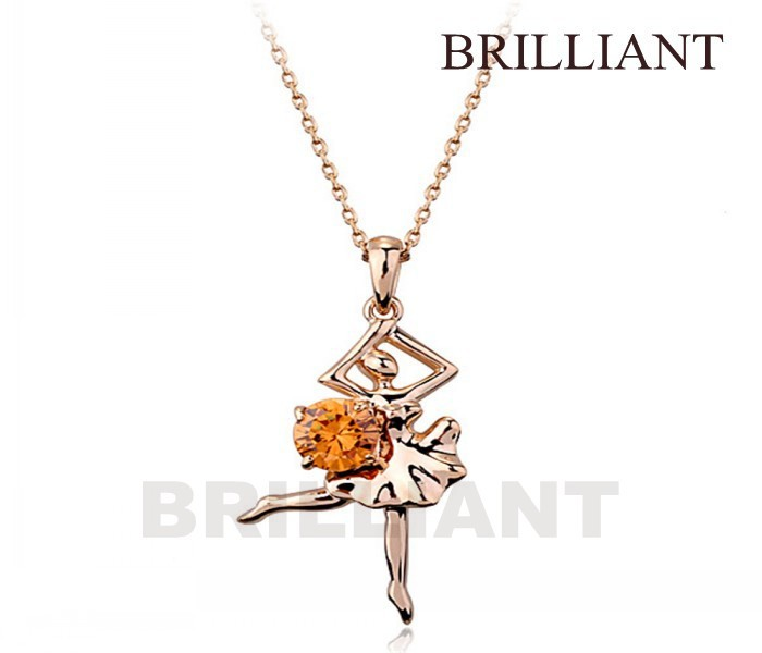 BN003 Ballerina Classic 18K Rose Gold Plated Pendant Necklaces fashion Jewelry Austria Crystal Elements - Brilliant store
