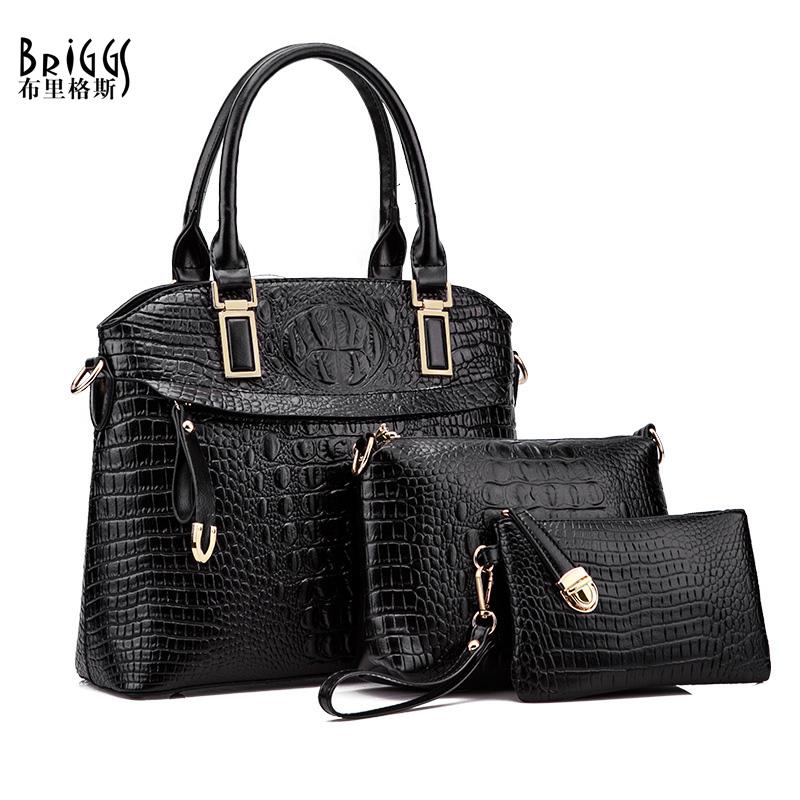 BRIGGS 3 Pcs/Set Vintage Handbags Women Messenger Bags Female Shell Bag Shoulder Bags Office Lady Casual Tote Top-Handle Bag(China (Mainland))