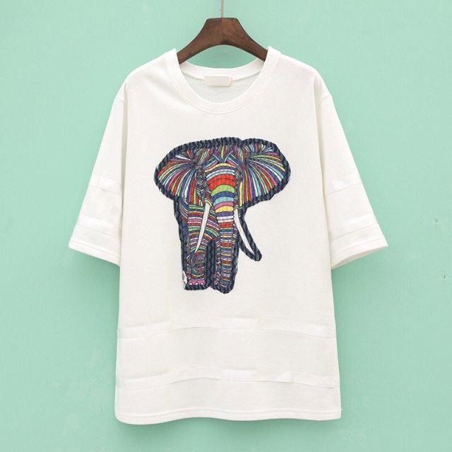 Free shipping 2015 T-Shirts Women Tee Shirt Elephant Printed blusa American apparel Shirts Spring-Summer(China (Mainland))