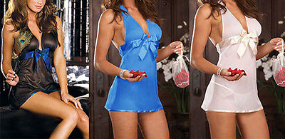 Hot Sale Sexy Sheer lingerie Black/White/Blue babydoll panty(China (Mainland))