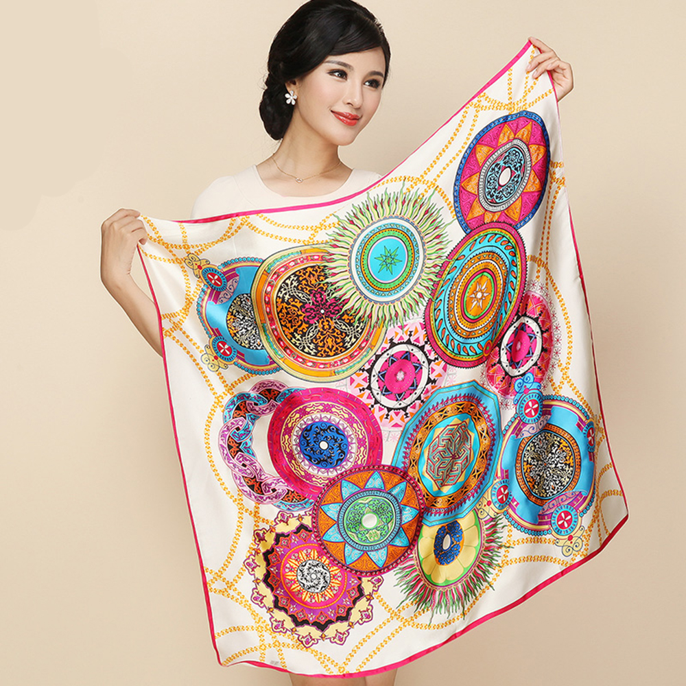 New Arrival 2015 Bronzing Crepe Satin Large Square Silk Scarves Printing 100% Silk Scarf Shawls 85cm*85cm Square Pashmina SC049Одежда и ак�е��уары<br><br><br>Aliexpress