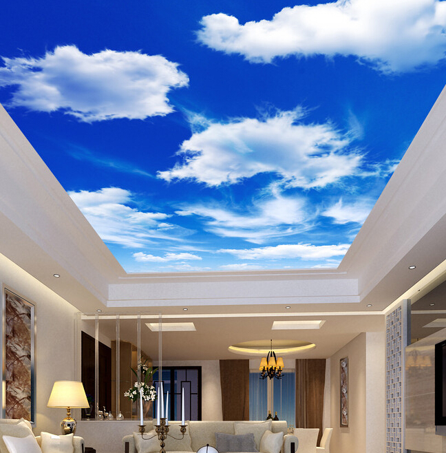 Custom ceiling wallpaper blue sky and white clouds murals for Ceiling cloud mural
