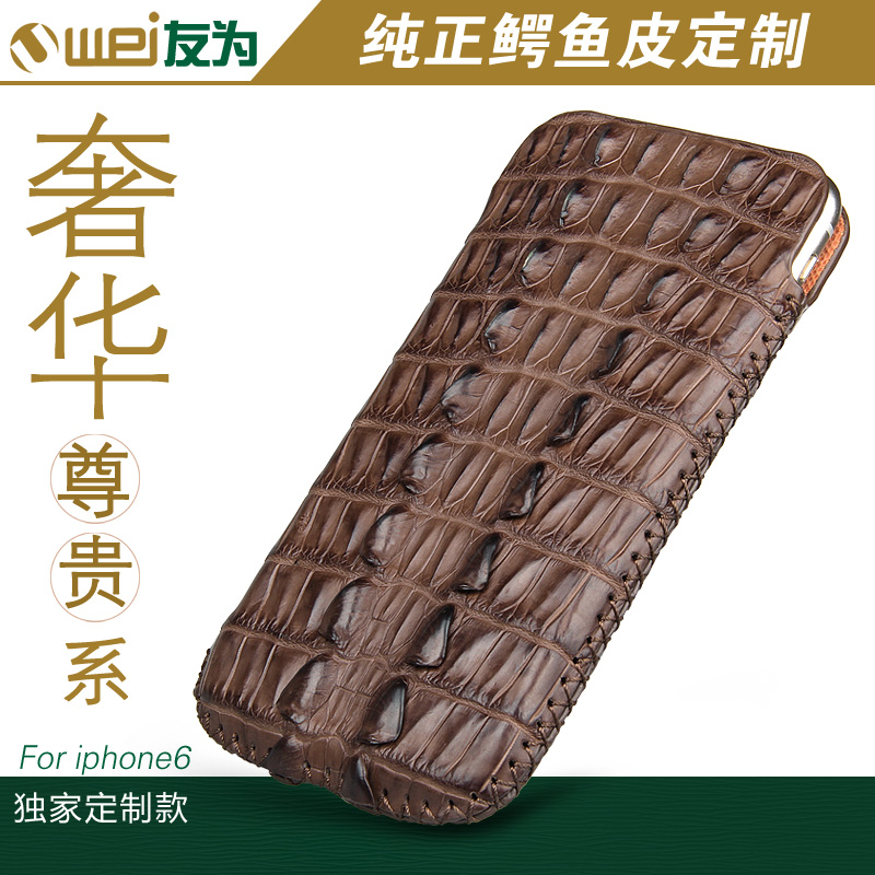 Luxury Retro back cover for iphone 6 high quality crocodile leather hard case iphone 6 genuine leather mobile phone case(China (Mainland))