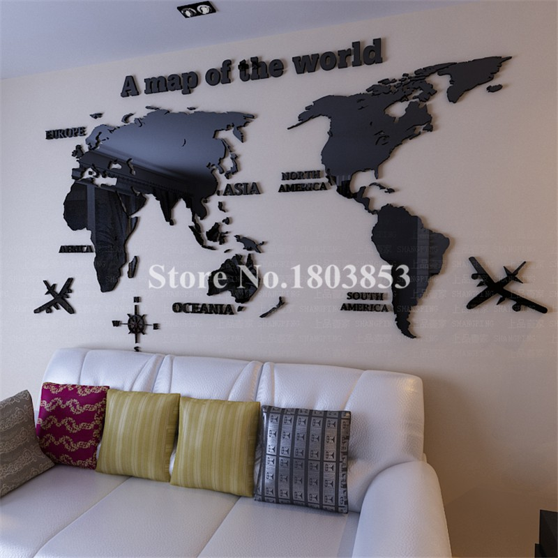 Hot! World Map 3D crystal acrylic wall stickers office living room sofa backdrop Home decor Art Sticker Decals Christmas Gift(China (Mainland))
