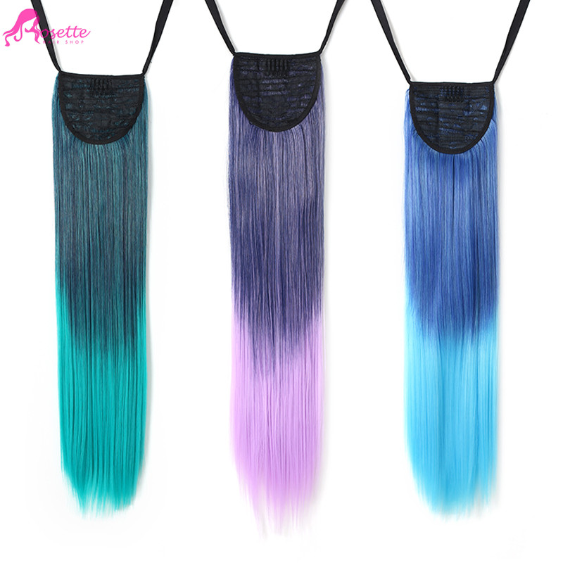 "Clip In Hair Extensions 24""Rainbow Hairpiece Straight Ombre Two Tone Gradient Color Synthetic Hair For Cosplay Fast Shipping(China (Mainland))"