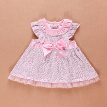 Top Quality 6-24Month Baby Girls Dress Leopard Summer Toddler Kids Princess Dresses whit Bowknot Baby Infantil Clothing(China (Mainland))