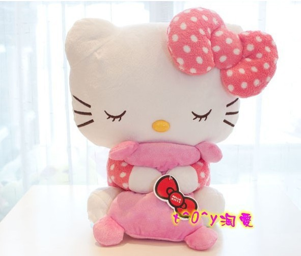 New Arrival Hello Kitty Sleeping Model Plush Big Toy Doll Pink Dot Nightclothes Birthday Christmas Gift 40x36cm(China (Mainland))