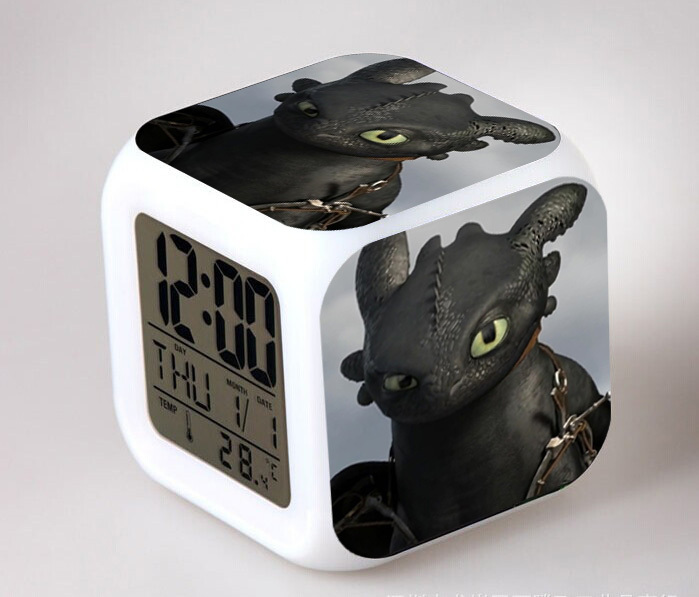 Hot Toys Anime Pokemon How To Train Your Dragon 2 Action Figure Toys Touch Night Light Digital Alarm Clock Kids Toys