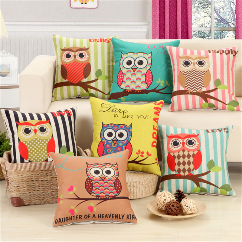 RUBI Amercian Owls Cushion Without Inner Polyester Cotton Home Decor Sofa Car Seat Decorative Throw Pillow Hot Sale Housse(China (Mainland))