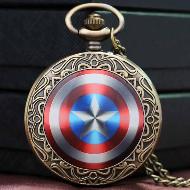Captain America Shield Weapon The First Avenger Steve Rogers Pocket Watch Men Boys Gift Children(China (Mainland))