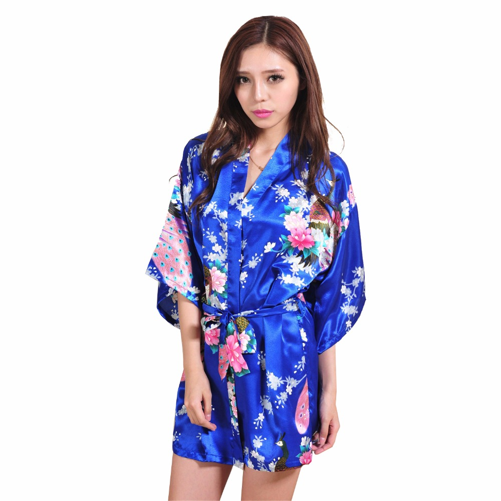 sexy blue women kimono bath dress gown chinese style silk mini robe summer casual nightwear. Black Bedroom Furniture Sets. Home Design Ideas