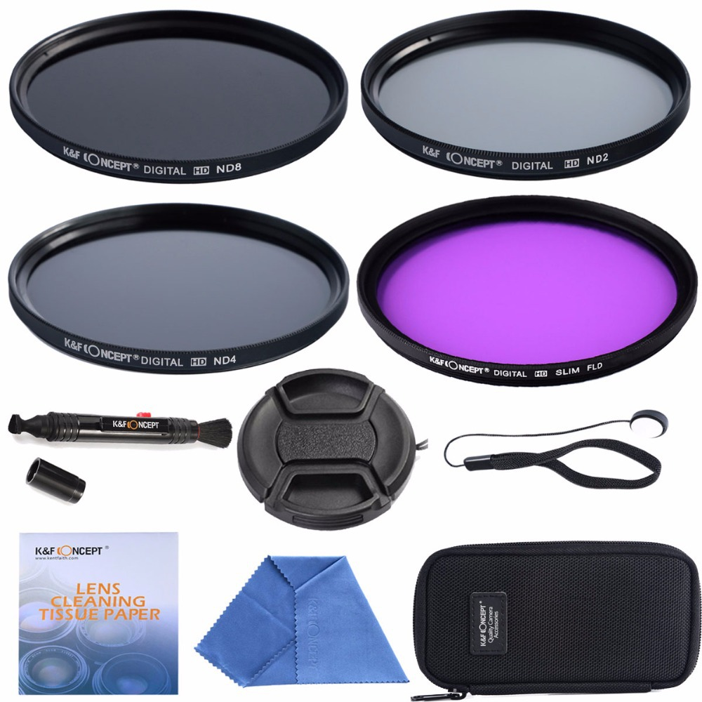 58mm FLD + ND2 ND4 ND8+Cleaning kits+ pouch bag Filter Kit Lens Filter Kit for Dslr Camera(China (Mainland))