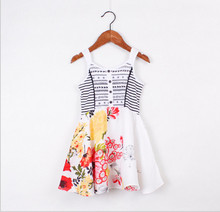2015 Brand Catimini Dress Girls Pretty Floral Button Embroidered Bow Sleeveless 3-12Y Kids Clothing Fashion Summer Style TA032