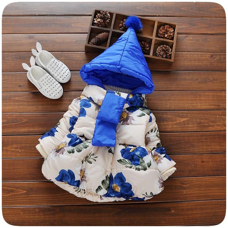 send scarf ! flower print baby girls coat infant girls jacket for winter autumn sweet kids children down coatinfantil menina