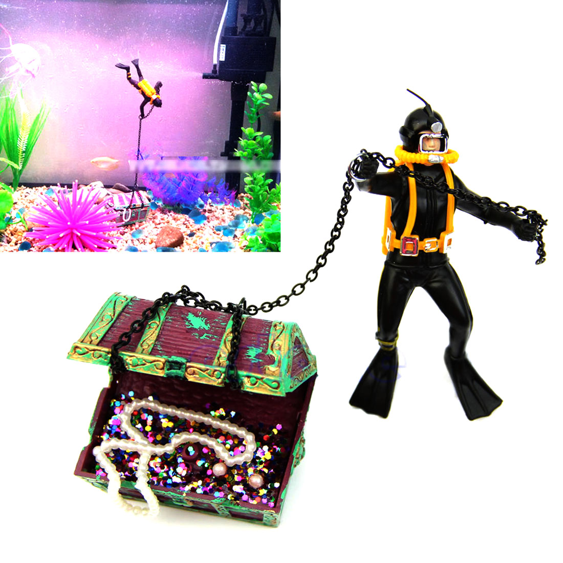 Unique design hunter treasure figure action decor fish for Unique fish tank decorations