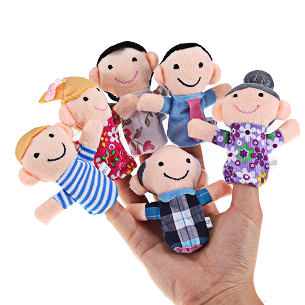 6Pcs Family Finger Puppets Cloth Doll Baby Educational Toy Finger Puppets Stuffed Finger Toys for children(China (Mainland))