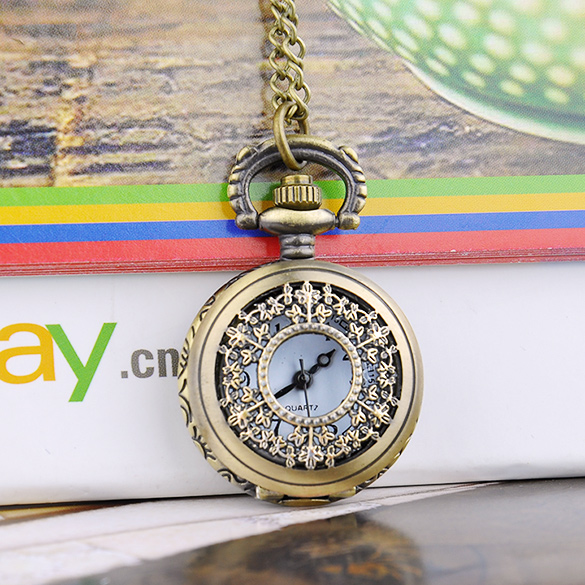 Top Quality Fashion Retro Style Bronz Copper Quartz Pocket Watch Hollow Out Retro Pendant Chain Necklace Watches(China (Mainland))