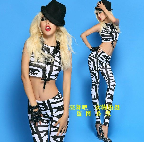 Costumes female singer ds costume jazz dance dj twirled service black white big eyes twinset - Secret base store