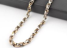Free shipping Men's fashion brief Chain Necklace,Multi-circle pattern,Titanium steel,Silver&Gold color,Length:55cm,Width:6mm(China (Mainland))