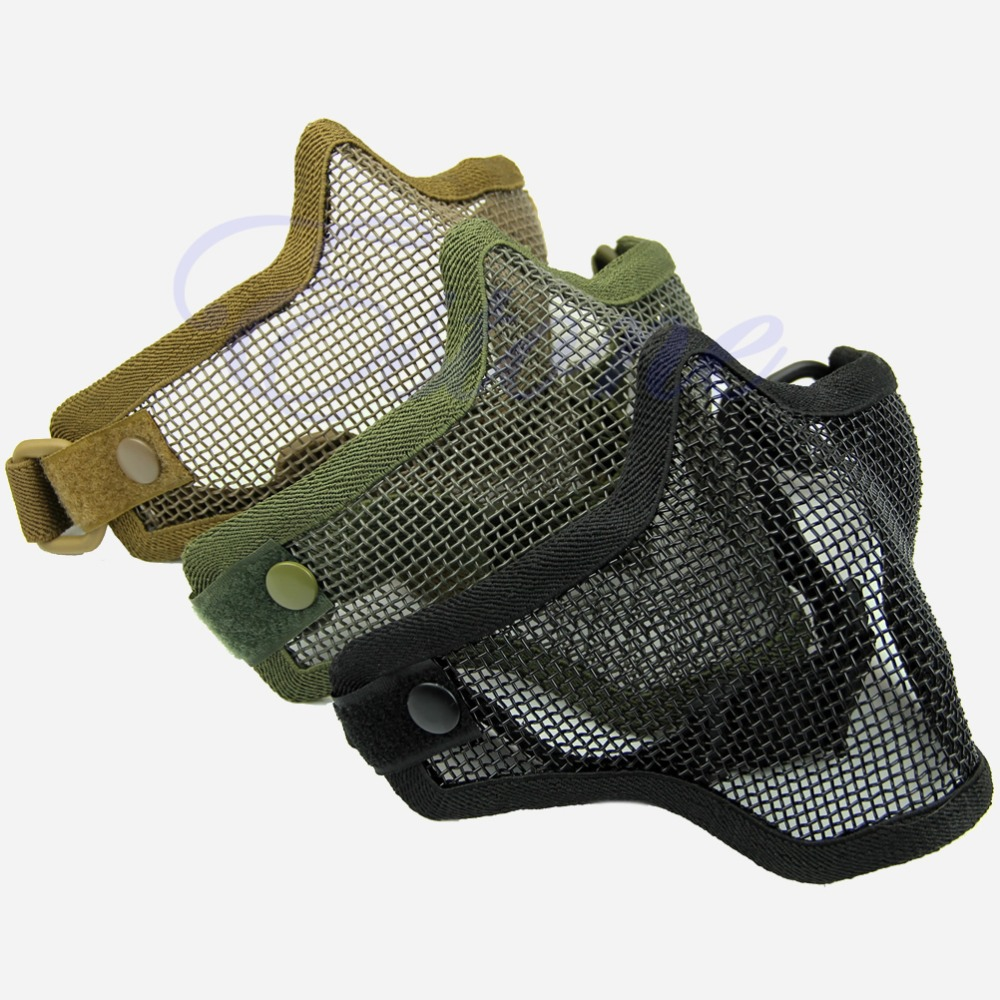 Free Shipping Half Lower Face Metal Steel Net Mesh Hunting Tactical Protective Airsoft Mask(China (Mainland))