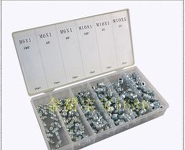 diy hardware 100pcs m6 and m8 grease fitting 90 degree,45 degree,180degree assortment in a case(China (Mainland))