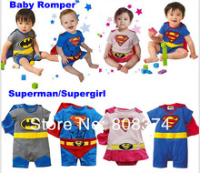 For baby game DHL Fedex 200PCS Fashion Baby Romper superman/supergirl/Baby Dress Smock/Baby Cloak clothing(China (Mainland))