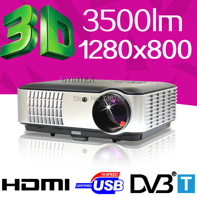High Definition Home Theater 1280x800 mINI Digital DVBT 1080P HD 3D Video HDMI USB LCD LED AV Projector Proyector Projetor(China (Mainland))