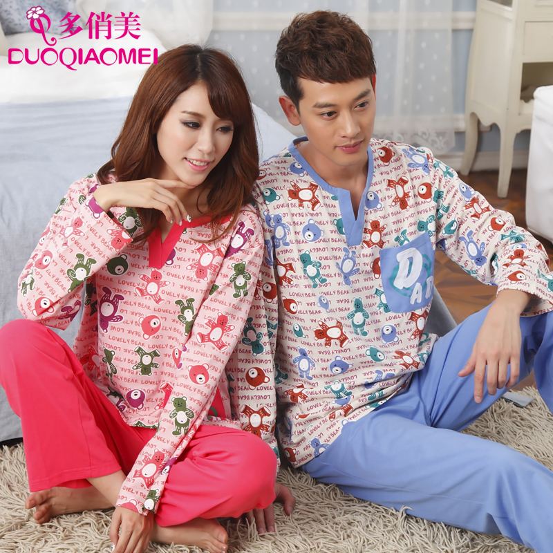 People male 100% cotton home service long-sleeve lovers lounge cartoon spring autumn women's set sleepwear - LL fashion show store