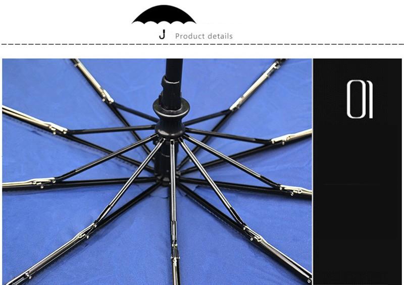 Business Luxury Men Umbrella 3 Folding Full Automatic Umbrella Super Windproof 10 Rib Fashion Blue Red Lady Umbrella Rain Women16