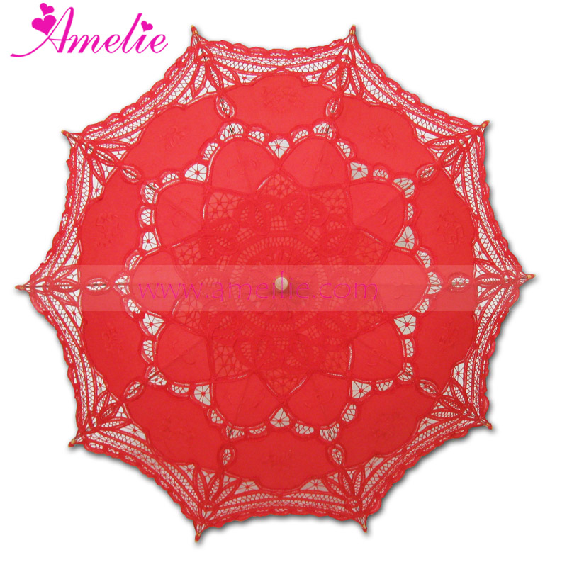 Retail Battenburg Wedding Bridal Umbrella Parasol Red Color Party Supplier 100% Cotton(China (Mainland))