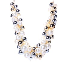 Starry Beads Gold Plated Chains Imitation Pearl Necklace New Resin Necklace for 2015 Women Brand Jewelry N25631