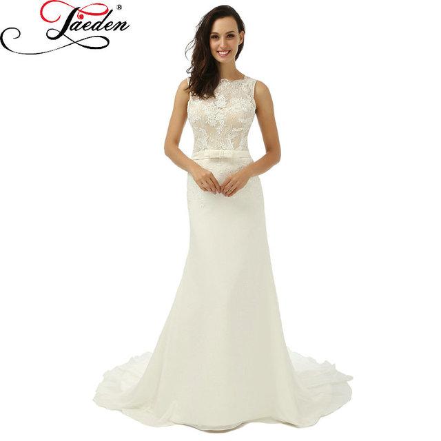 Jaeden лодка шеи свадебные платья шифон пояса длиной до пола рукавов спинки W020 ...
