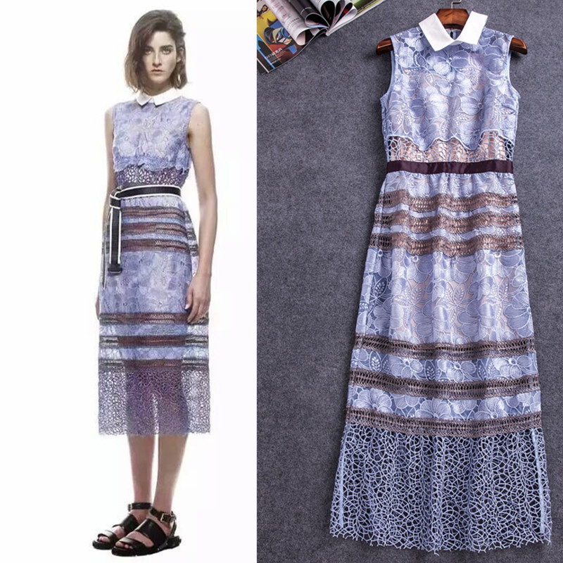 New Self Portrait Blue Lace Embroidery Flower Dress Sexy Hollow Out Dress Runway Elegant Sleeveless Mid-Calf Dresses Free Ship