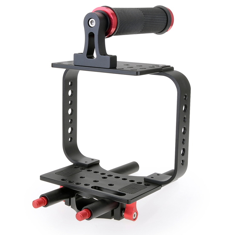 New BMCC Stabilizer DSLR Camera Cage Rig with Top Handle + Baseplate and 15mm Rod for Blackmagic Cinema Camera(China (Mainland))