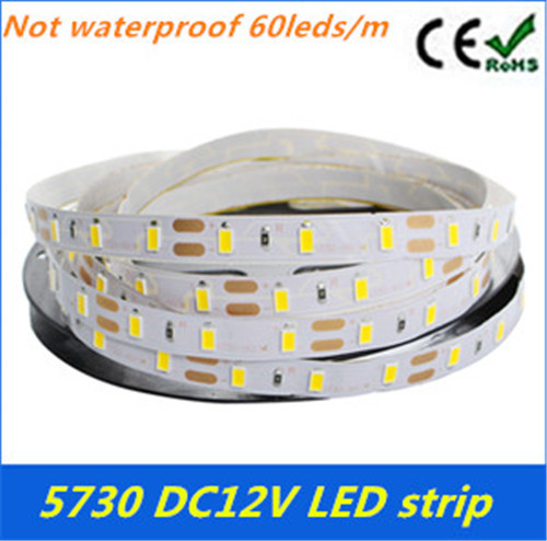 Super Bright 5730/5630 LED strip flexible light Non-Waterproof 12V 60LED/m 5m/lot,New LED Chip 5730/5630 Bright Than 5050(China (Mainland))