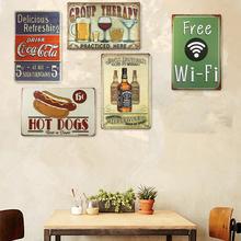 Shabby Chic Tin Metal Signs Home Decor Beer Drinking Hot Dog Pub Vintage Plate Garage Pub Bar Home Wall Decor(China (Mainland))