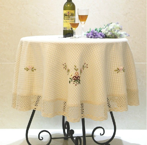 """226# round 150cm/59"""" embroidery Table Cloth tablecloth mat cover cotton&linen lace Dec luxury desk dinner mat wholesale Home(China (Mainland))"""