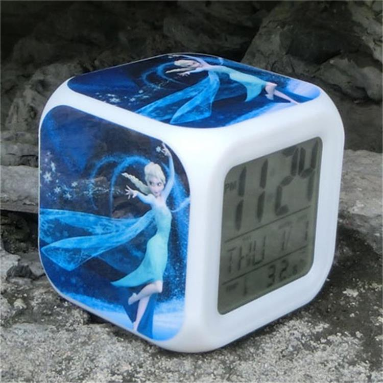 Snow Queen Princess Cinderella Alarm clocks Elsa 7 Colorful glow changing Touch Lights Kids Toys(China (Mainland))