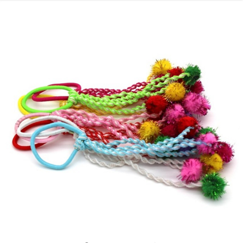 2016 Lovely Funny 2 Pcs Baby Kids Girls Nice Fuzzy Ball Pompon Hair Band Rope Ponytail Holder New Design(China (Mainland))