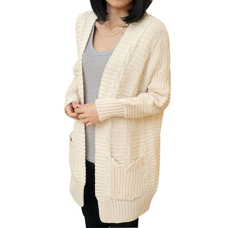 2016 Autumn New Arrival Women Knitted Cardigans Bat Seeve Pocket Loose Solid Female Cardigan Fashion All-match Blouse 3 Colors(China (Mainland))
