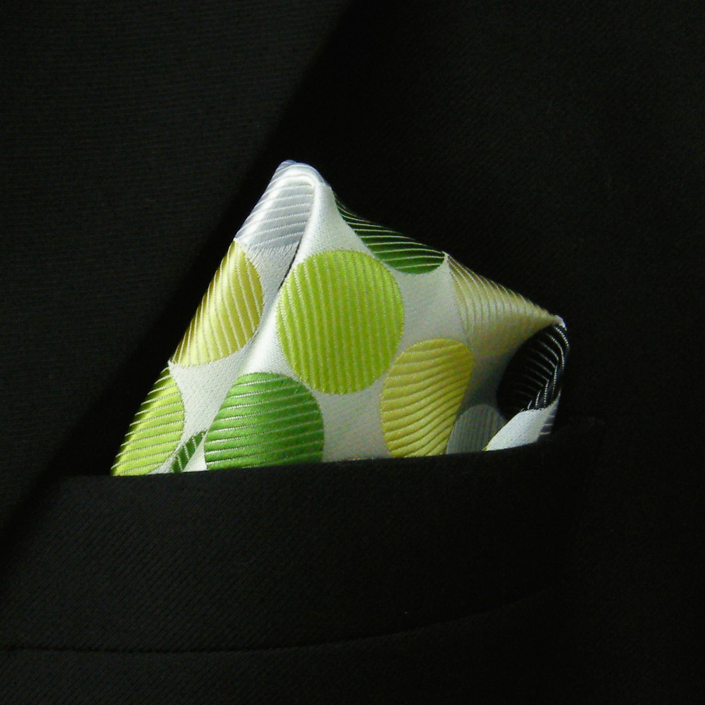 Pocket Square Polka Dot White Yellow Green Black Hanky Mens Neckties Jacquard Woven Handkerchief New(China (Mainland))