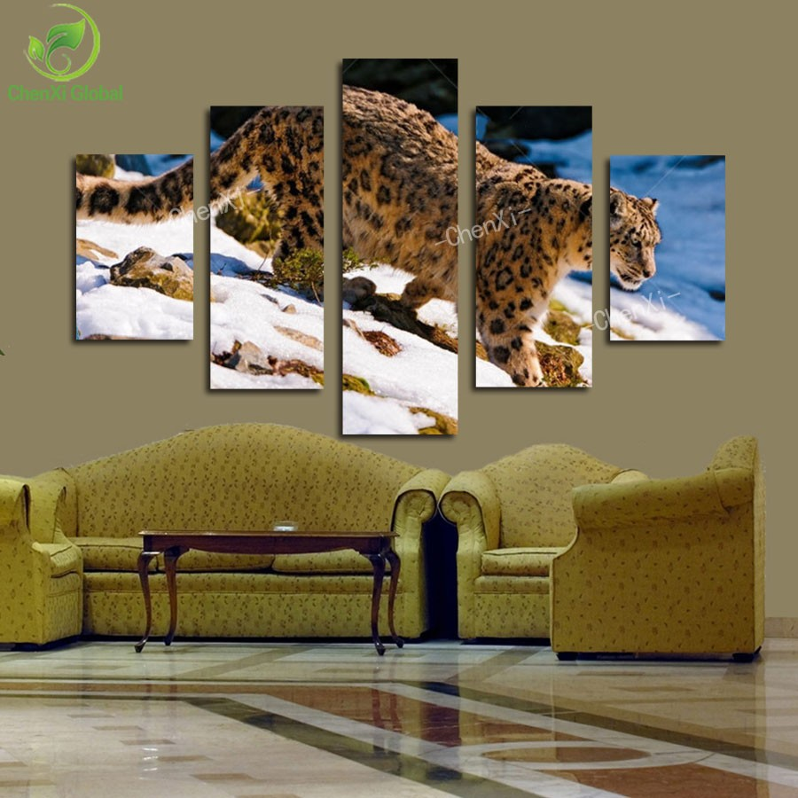 5 Panel Modern Printed <font><b>African</b></font> Leopard Picture Oil Painting Cuadros Decoracion Canvas Wall Art For Living Room Unframed Wedding