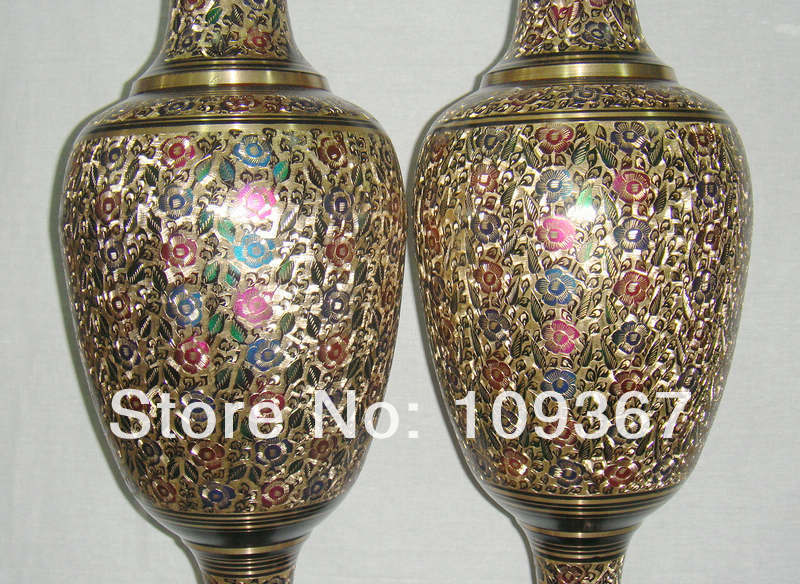 Extremely big Genuine 2PCS Height 100cm Fine art Meters colorful bottle Bronze pakistan copper vase large floor vase a pair(China (Mainland))