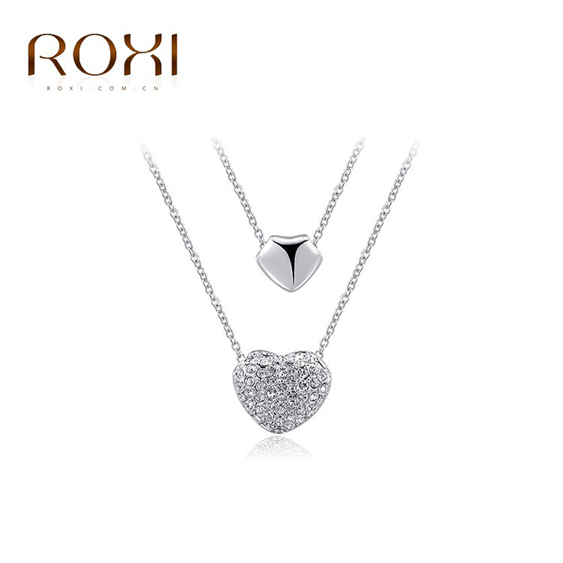 ROXI Christmas Gift Fashion Jewelry Platinum Plated Statement Double Heart Pendant Necklace Women Party Wedding Free