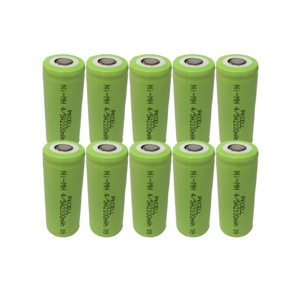 10Pcs 1.2v 4/5A 2100mah rechargeable NIMH battery in flat top, non PCM, in industrial pvc packing(China (Mainland))