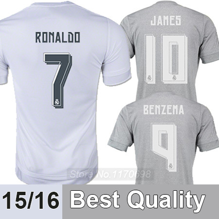 NEW 2015 Real Madrid Jersey Top Thai quality Real Madrid 15 16 Soccer Jerseys Real Madrid RONALDO Home Away Football Shirts(China (Mainland))