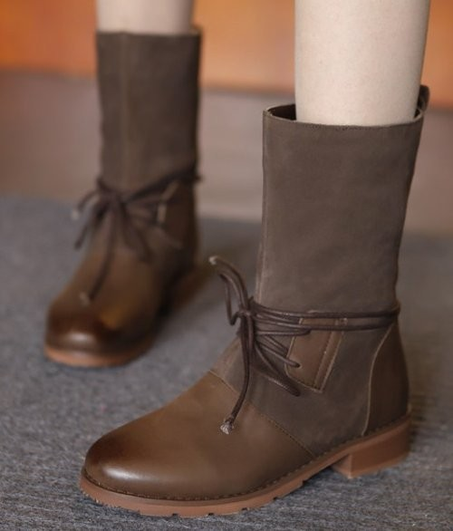 CooLcept Free Shipping Ankle Half Short Natural Genuine Leather High