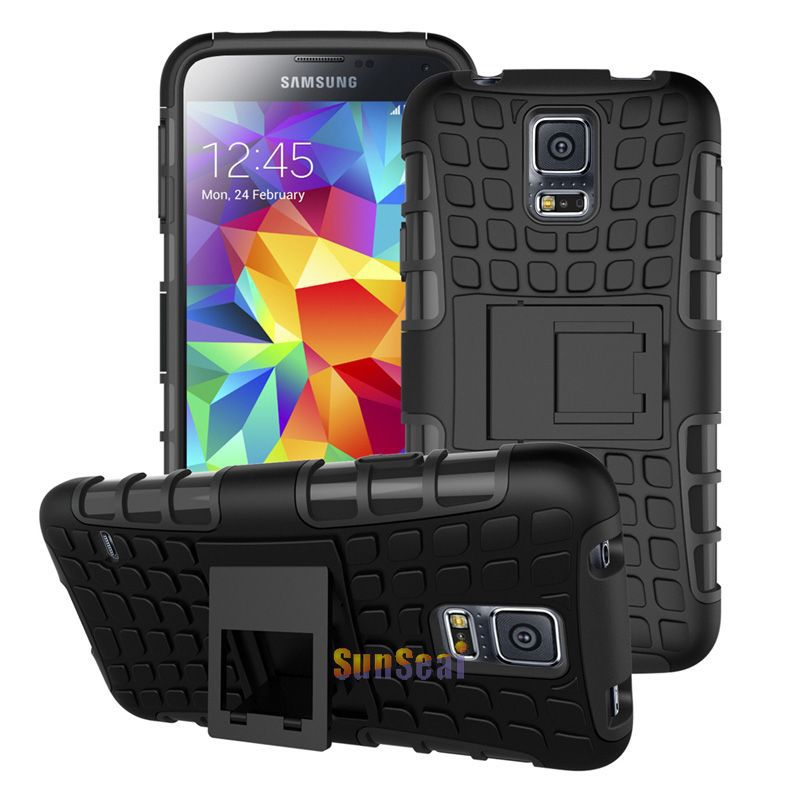 8 Colors For S5 Case Armor Hybrid Combo Hard Cover Heavy Duty Case For Samsung Galaxy S5 I9600 With Kickstand PC + Silicone(China (Mainland))