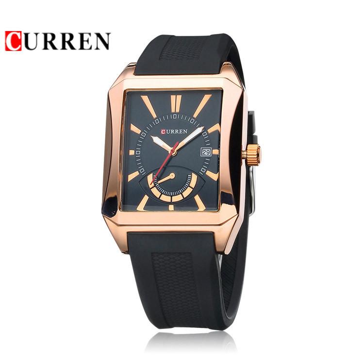 2015 New Designer Original Curren Watches Men Top Brand Luxury Quartz Analog Watch Date Display Rubber Strap Men Wristwatches(China (Mainland))
