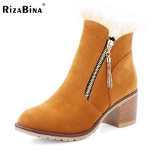Buy Russia Women Square Heels Snow Boots Fashion Zip Thickened Fur Winter Warm Martin Boots Shoes Plush Footwear Size 34-43 for $26.88 in AliExpress store